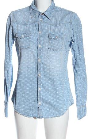 Marc O'Polo Langarmhemd blau-wollweiß Punktemuster Casual-Look