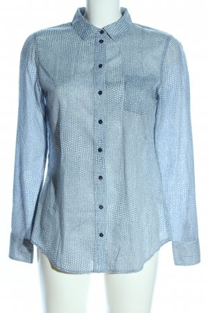 Marc O'Polo Langarmhemd blau-weiß Allover-Druck Business-Look
