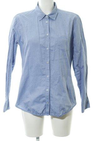 Marc O'Polo Langarmhemd kornblumenblau meliert schlichter Stil