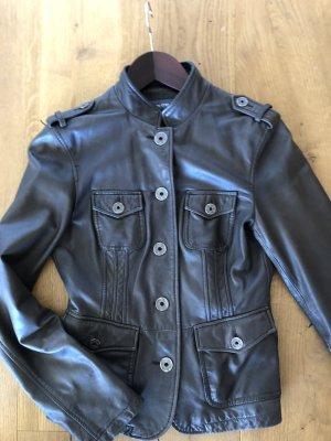 Marc O'Polo Veste en cuir taupe-brun noir cuir