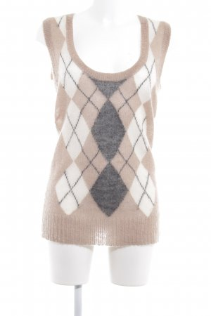 Marc O'Polo Lange cardigan beige geruite print Logo applicatie