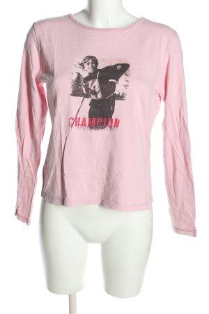 Marc O'Polo Longsleeve pink-schwarz Motivdruck Casual-Look