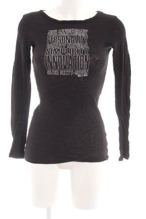 Marc O'Polo Longsleeve schwarz-silberfarben Schriftzug gedruckt Casual-Look