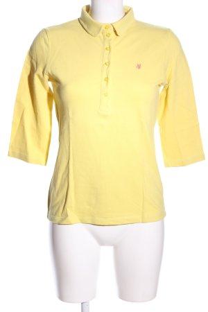 Marc O'Polo Polo-Shirt blassgelb Schriftzug gestickt Casual-Look