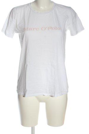 Marc O'Polo Print-Shirt weiß-nude Schriftzug gedruckt Casual-Look