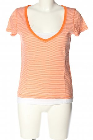 Marc O'Polo Ringelshirt weiß-hellorange Allover-Druck Casual-Look