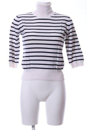 Marc O'Polo Rollkragenpullover weiß-schwarz Streifenmuster Casual-Look
