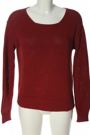 Marc O'Polo Rundhalspullover rot Zopfmuster Casual-Look