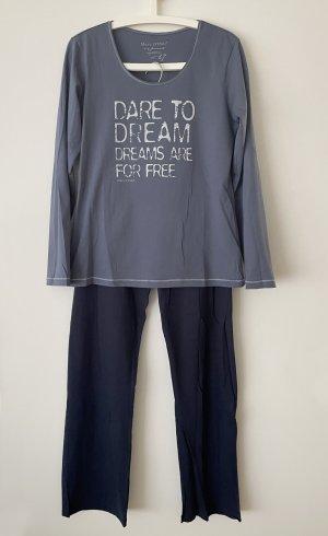 Marc O'Polo Pyjama bleu foncé-gris ardoise coton