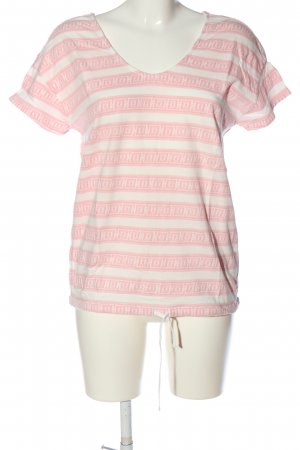 Marc O'Polo Schlupf-Bluse weiß-pink grafisches Muster Casual-Look