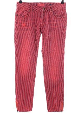 Marc O'Polo Slim Jeans rot-schwarz Streifenmuster Casual-Look