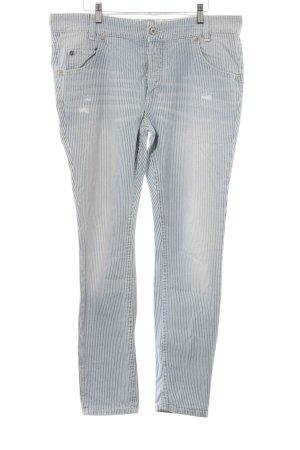Marc O'Polo Slim Jeans weiß-blau Streifenmuster Casual-Look