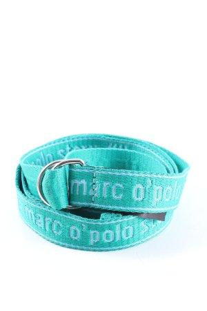 Marc O'Polo Ceinture en tissu turquoise lettrage imprimé style décontracté