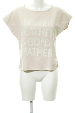 Marc O'Polo Strickshirt creme Schriftzug gedruckt sportlicher Stil