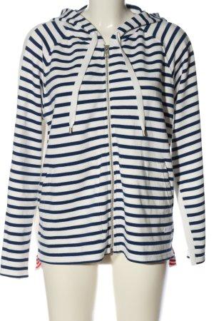 Marc O'Polo Veste sweat blanc-bleu motif rayé style décontracté