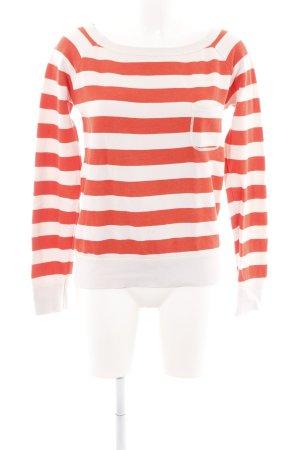 Marc O'Polo Sweatshirt weiß-rot Streifenmuster Casual-Look