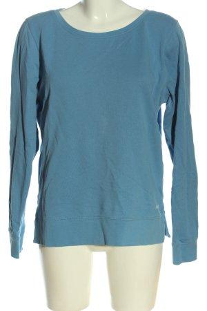 Marc O'Polo Sweatshirt blau-weiß Schriftzug gedruckt Casual-Look