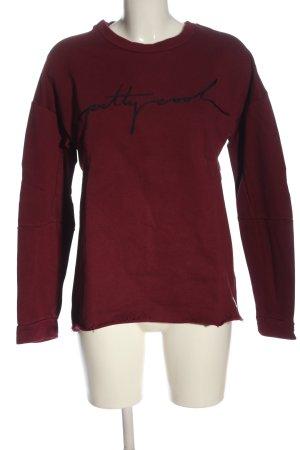 Marc O'Polo Sweatshirt rot-schwarz Schriftzug gestickt Casual-Look