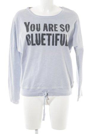 Marc O'Polo Sweatshirt himmelblau-taupe Schriftzug gedruckt Urban-Look