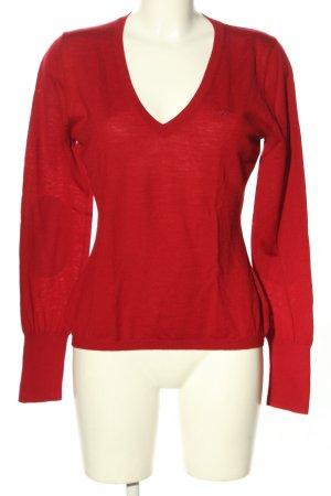 Marc O'Polo V-Ausschnitt-Pullover rot-hellgrau Casual-Look