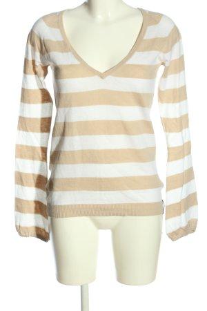 Marc O'Polo V-Ausschnitt-Pullover weiß-nude Streifenmuster Casual-Look