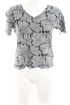 Marc O'Polo V-Ausschnitt-Shirt schwarz-weiß Blumenmuster Casual-Look