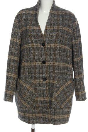 Marc O'Polo Cappotto in lana grigio chiaro-crema motivo a quadri stile casual