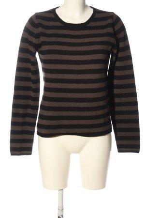 Marc O'Polo Maglione di lana marrone-nero motivo a righe stile casual