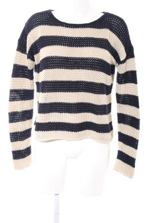 Marc O'Polo Wollpullover schwarz-wollweiß Streifenmuster Casual-Look