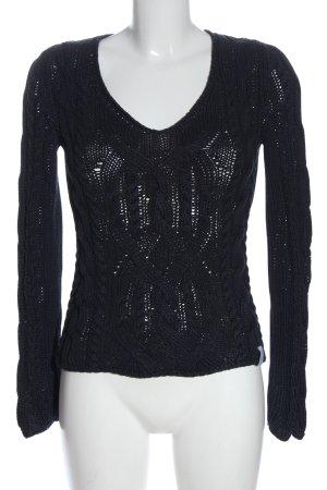 Marc O'Polo Warkoczowy sweter czarny Warkoczowy wzór W stylu casual