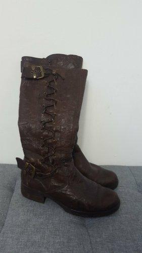 MARC Shoes Bottes à lacets vieux rose-brun noir cuir