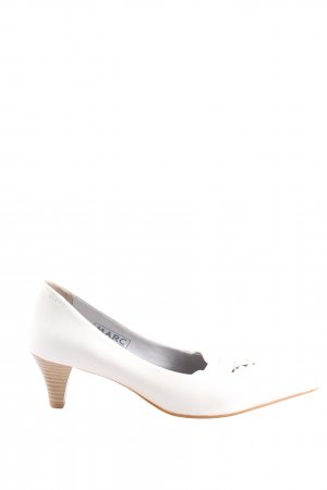 MARC Spitz-Pumps weiß-braun Business-Look