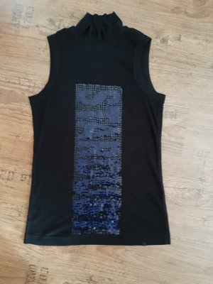 marccain sport Neckholder Top black-steel blue