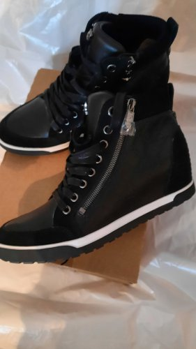 Marc Cain High top sneaker zwart Leer