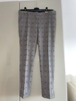 Marc Cain Pantalon chinos gris-rouge foncé
