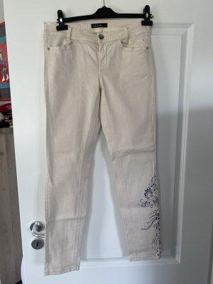 Marc Cain Stretch Trousers cream-dark blue cotton