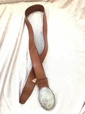 Marc Cain Leather Belt brown-silver-colored