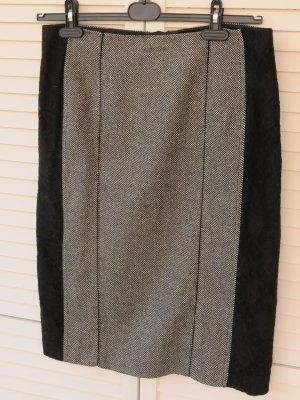 MARCCAIN Wełniana spódnica czarny-srebrny Wełna