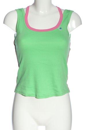 MARCCAIN Trägertop grün-pink Schriftzug gedruckt Casual-Look