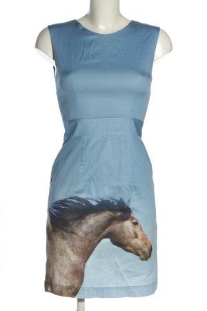 Marcel Ostertag Etuikleid blau-braun abstraktes Muster Casual-Look