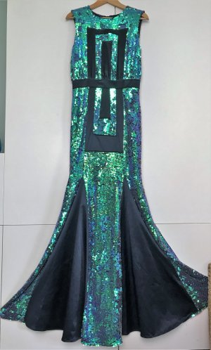 "* MARCEL OSTERTAG * Maxi BALL MERMAID KLEID bodenlang "" RED CARPET "" PAILLETEN graphisches MUSTER Gr 36 38  M"