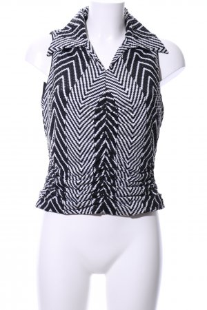 Marco Pecci Blouse topje zwart-wit volledige print casual uitstraling