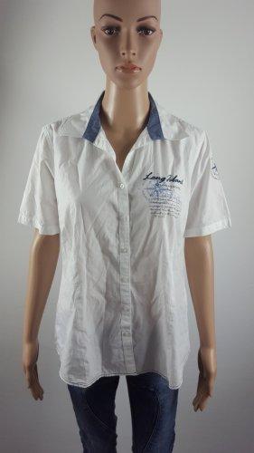 Marco Pecci Damen kurzarm Hemd Bluse weiß mit Stickerei Größe 40