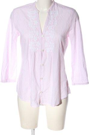 Marco Pecci Hemd-Bluse pink-weiß Streifenmuster Casual-Look