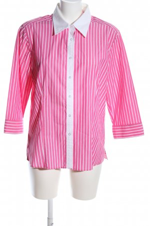 Marco Pecci Hemd-Bluse pink-weiß Streifenmuster Casual-Look
