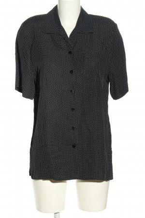 Marco Pecci Kurzarm-Bluse schwarz-weiß Punktemuster Casual-Look