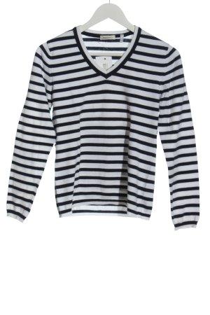 Marco Pecci V-Ausschnitt-Pullover weiß-schwarz Streifenmuster Casual-Look
