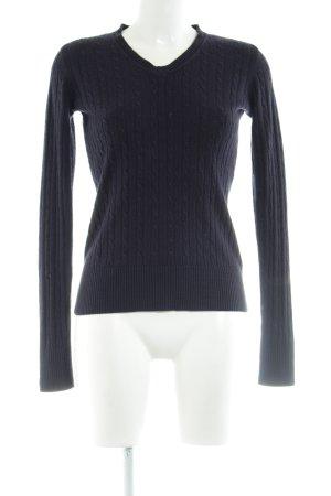 Marco Pecci V-Ausschnitt-Pullover blau Zopfmuster Casual-Look