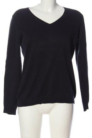 Marco Pecci V-Ausschnitt-Pullover schwarz Casual-Look