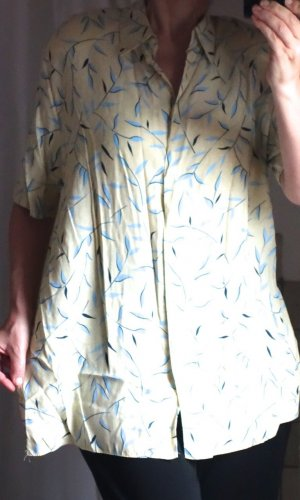 Marco Pecci Vintage Bluse, Hemdbluse 80iger Jahre, Kurzarm, Longbluse, typische Shilouette mit breiten Schultern, Kragen, Retro, Muster, hellgelb, hellblau, pastell Polkadots, floral, dunkelblau, Print, Schulterpolster, oversize, glatter leichter Stoff, l